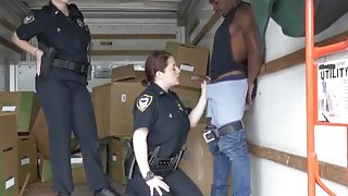 Naughty cop Black suspect taken on a