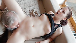 Beautiful girl gets fucked by a horny old man, her boyfriend comes and watches - OldGoesYoung