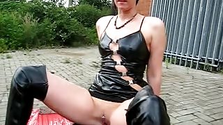 Spandex sex fetish movie with slut riding huge sex toy