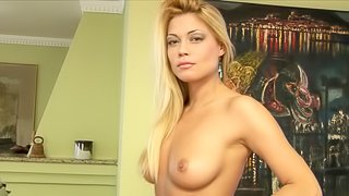 Hot bitch with blonde long hair masturbating on yellow couch
