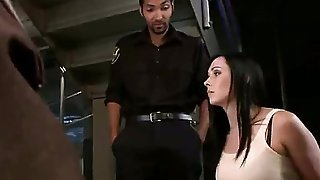 Pretty French tourist Angell Summers mistakenly got into prison and she had to fuck five prison guards at the same time to go out of the prison. She will never forget this trip