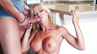Capri Cavanni is an irresistibly sexy blonde with perfect big tits. Hes in love with his GF. But he cant miss his chance to bang his GFs super sexy buxom friend Capri Cavanni. She takes his rock stiff dick in the kitchen