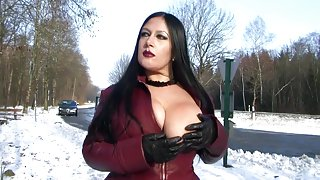 Leather Coat Flashing in Public - Blowjob Handjob with Leather Gloves - Cum on my Tits