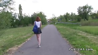 Redhead student fucks in sunflower field