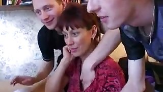 RussiAn Milf Gets Boned And Sprayed By Three Young Cocks !