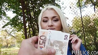 Skinny amateur blonde Eurobabe drilled in public for cash